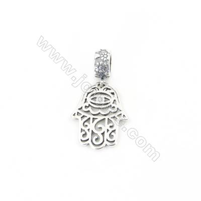 Sterling Silver European Beads, x 1 Piece, Hollow Palm, Size: 15x18mm