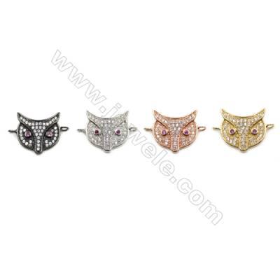 Brass Pave Cubic Zirconia Connectors, Owl, Hole 1.5mm, Size 15x15mm, x20pcs/pack
