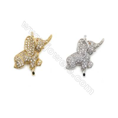 Brass Micro Pave Cubic Zirconia Connectors, Elephant, Hole 1.5mm, Size 14x22mm, x14pcs/pack