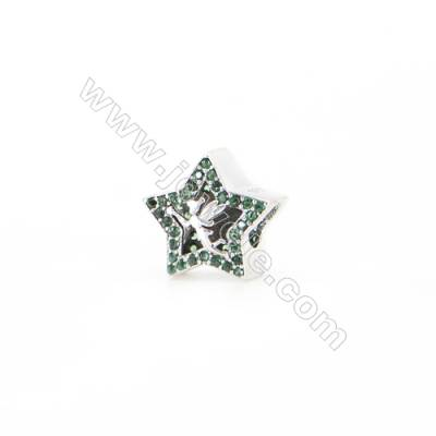 Sterling Silver Zircon European Beads, x 1 Piece, Star, Size 12x12mm, Hole 4.5mm
