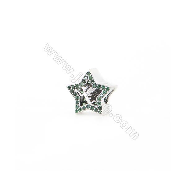 Sterling Silver Zircon European Beads, x 1 Piece, Star, Size 12x12mm, Hole 4.5mm