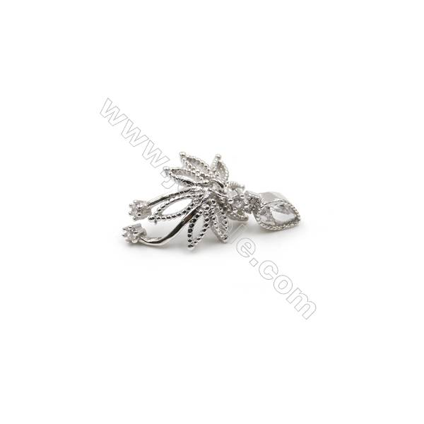 Sterling silver platinum plated zircon pendants, 13x18mm, x 5pcs, tray 13mm