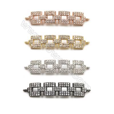 Brass Pave Cubic Zirconia Connectors, Rectangle, Hole 1.5mm, Size 8x35mm, x10pcs/pack