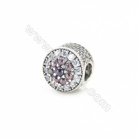 Sterling Silver Rhinestone Pandora Style Beads, Diameter 11mm, Hole 4.5mm, x 1piece