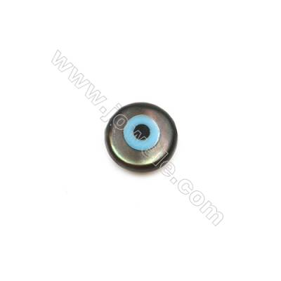 Blue evil eye shell black mother-of pearl, 5mm, x 30pcs/pack