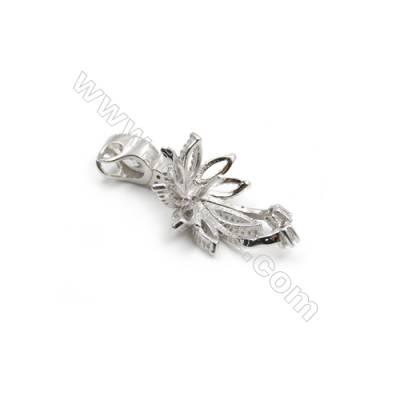 Sterling silver platinum plated zircon pendants -D5854 13x18mm x 5pcs disc diameter 13mm