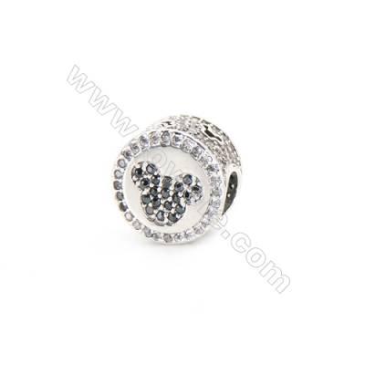 Sterling Silver Zircon European Beads, x 1 Piece, American Mouse, Diameter: 11mm, Hole 4mm