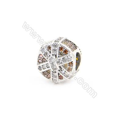 925 Sterling Silver Zircon European Beads, x 1 Piece, Round, Diameter: 10mm, Hole 4mm