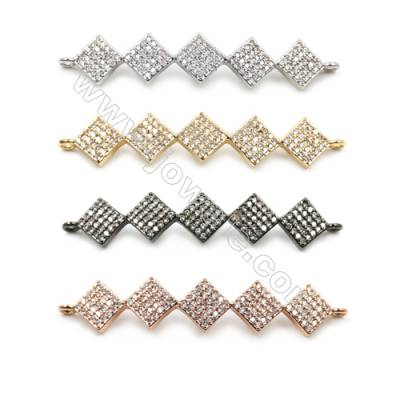Brass Pave Cubic Zirconia Connectors, Hole 1.5mm, Size 9x40mm, x10pcs/pack