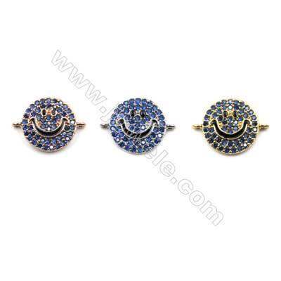 Brass Micro Pave Cubic Zirconia Connectors, Smile, Hole 0.8mm, Diameter 11mm, x12pcs/pack
