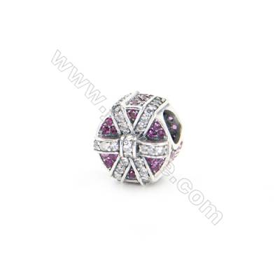 Sterling Silver Zircon European Beads, x 1 Piece, Gift Box, Diameter : 11mm, Hole 4mm