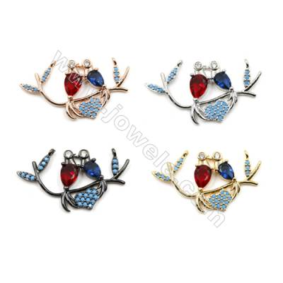 Brass Pave Cubic Zirconia Connectors, Lovebirds, Hole 1mm, Size 17x32mm, x12pcs/pack
