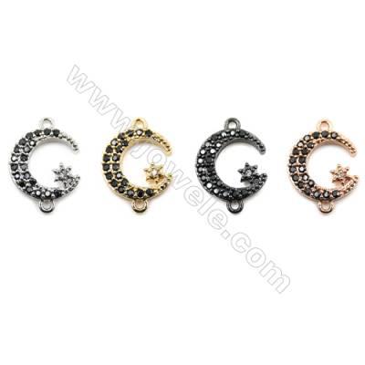 Brass Pave Cubic Zirconia Connectors, Moon, Hole 1mm, Size 13x13mm, x30pcs/pack