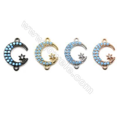 Brass Pave Cubic Zirconia Connectors, Moon, Hole 1mm, Size 12x13mm, x20pcs/pack
