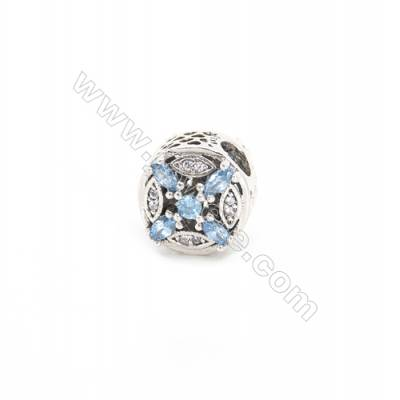 Sterling Silver Zircon European Beads, x 1 Piece, Cross Box, Diameter : 12mm, Hole 4mm