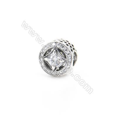 Sterling Silver Zircon European Beads, x 1 Piece, Tyre, Diameter : 11mm, Hole 4mm