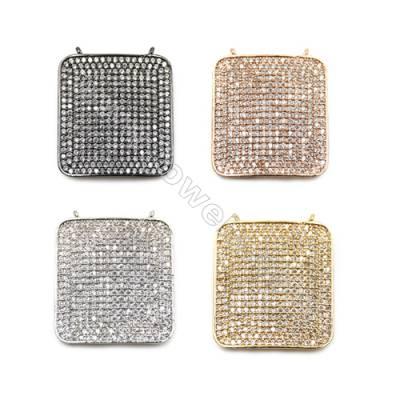 Brass Pave Cubic Zirconia Connectors, Quadrilateral, Hole 1mm, Size 21x23mm, x5pcs/pack