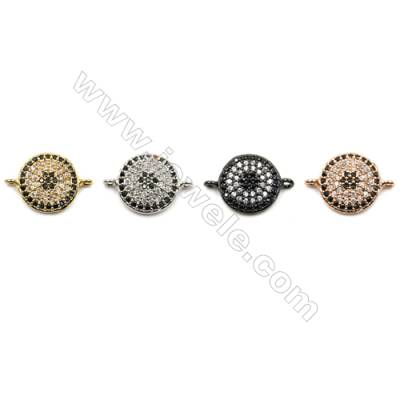 Brass Pave Cubic Zirconia Connectors, Round, Hole 1mm, Diameter 11mm, x14pcs/pack