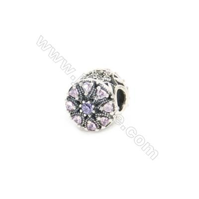 Sterling Silver Zircon European Beads, x 1 Piece, Round, Diameter : 11mm, Hole 4mm