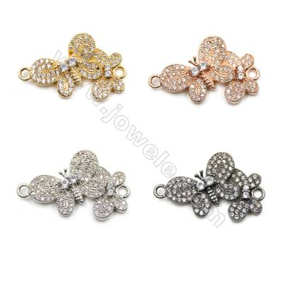 Brass Pave Cubic Zirconia Connectors, Butterfly, Hole 1.5mm, Size 16x23mm, x10pcs/pack