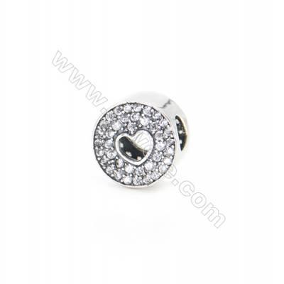 Sterling Silver Zircon European Beads, x 1 Piece, Round, Diameter : 10mm, Hole 4mm