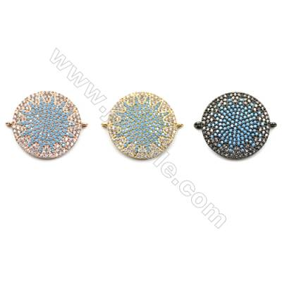 Brass Micro Pave Cubic Zirconia Connectors, Eyes, Diameter 20mm, Hole 1mm, x4pcs/pack