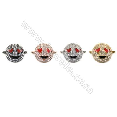 Brass Pave Cubic Zirconia Connectors, Emoji, Hole 1mm, Diameter 15mm, x10pcs/pack