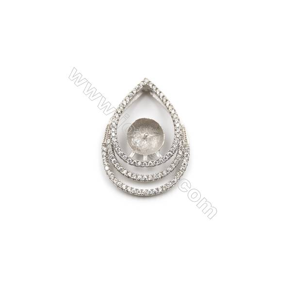 925 Sterling silver platinum plated zircon pendant, 19x25mm, x 5pcs, tray 9mm