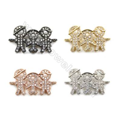 Brass Pave Cubic Zirconia Connectors, Family, Hole 1.5mm, Size 14x19mm, x20pcs/pack