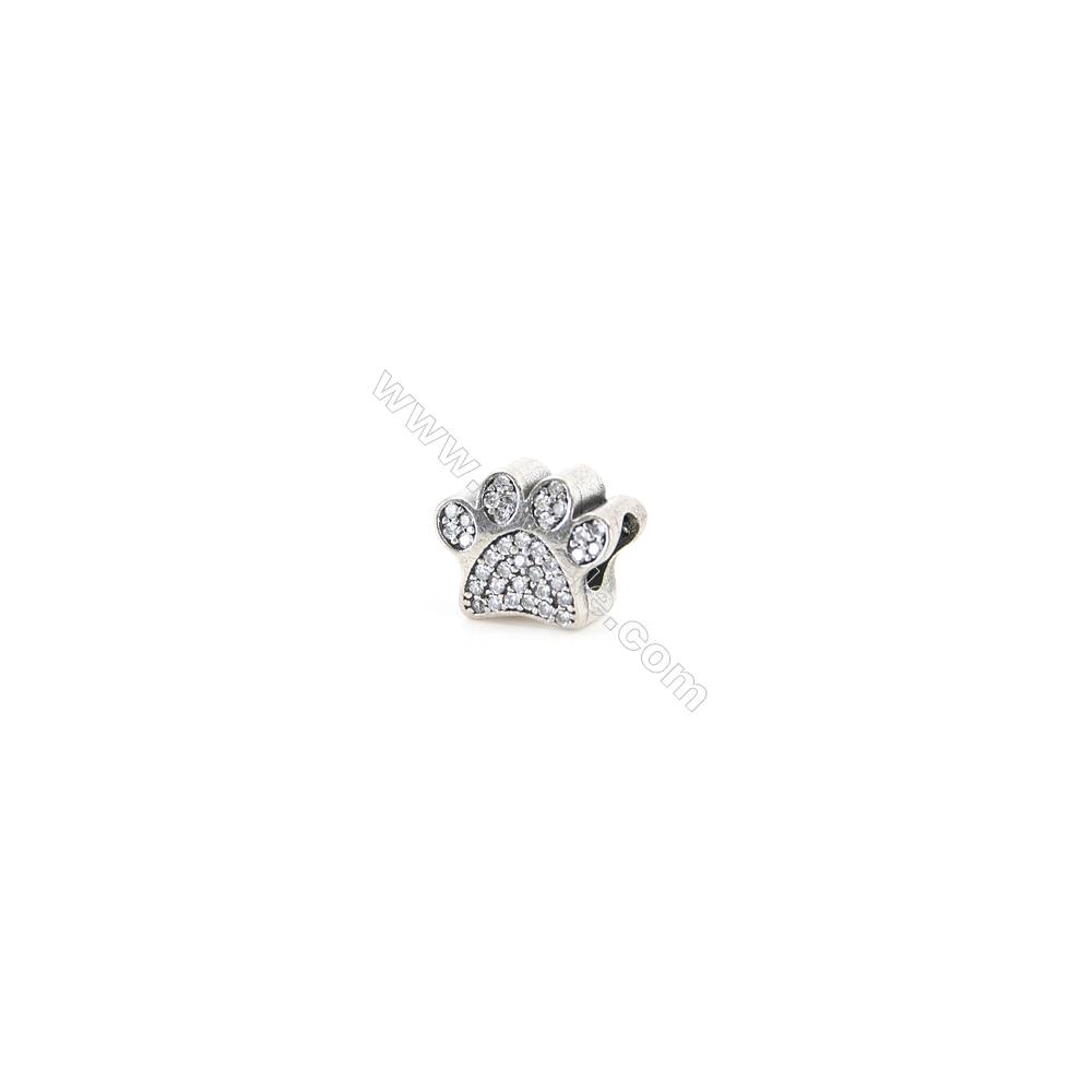 Sterling Silver Zircon European Beads, x 1 Piece, Dog's Paw, Size: 9x11mm, Hole 4.5mm