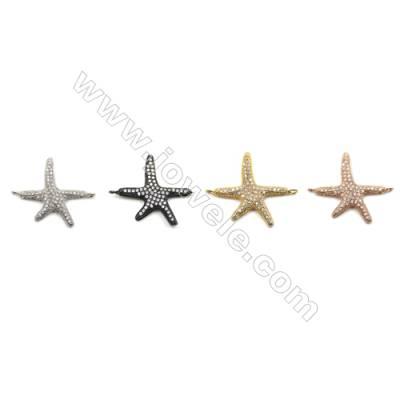Brass Pave Cubic Zirconia Connectors, Star, Hole 1.5mm, Size 19x21mm, x20pcs/pack