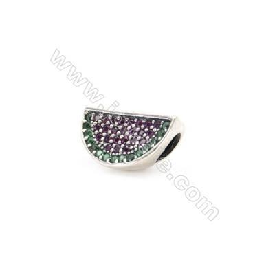 Sterling Silver Zircon European Beads, x 1 Piece, Watermelon, Size: 12x15mm, Hole 5mm