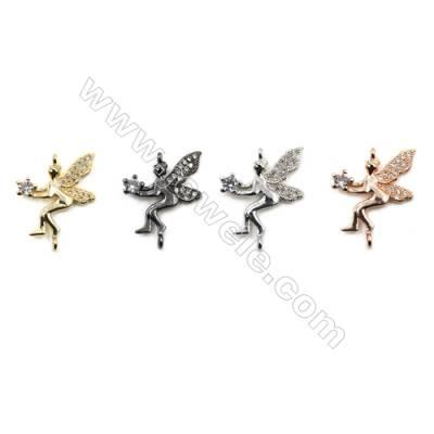Brass Pave Cubic Zirconia Connectors, Elves, Hole 1.5mm, Size 16x20mm, x30pcs/pack