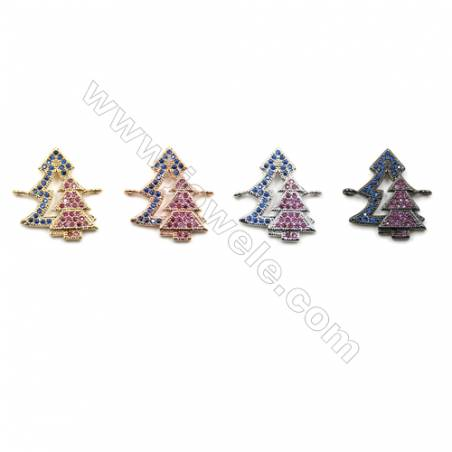 Brass Pave Zirconia Connectors, Christmas tree, Hole 1mm, Size 15x19mm, x14pcs/pack
