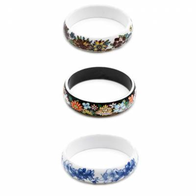 Mixed Chinoiserie Porcelain Bangles, Inner Diameter about 62mm, Width 16mm, Thickness 5mm