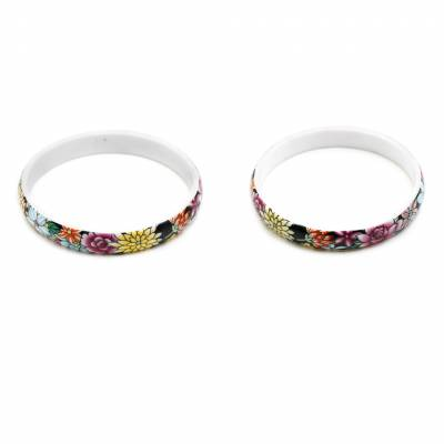 Mixed Chinoiserie Porcelain Bangles, Inner Diameter about 64mm, Width 10mm, Thickness 4mm