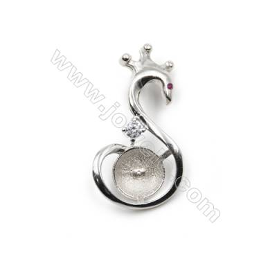 925 Sterling silver platium plated jewelry pendant, 16x30mm, x 5pcs, tray 9mm, pin 0.7mm