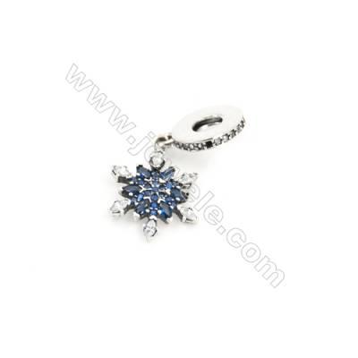 Sterling Silver Zircon European Beads, x 1 Piece, Snowflake, Size: 13x13mm