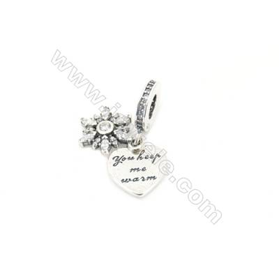 Sterling Silver Zircon European Beads, x 1 Piece, Flower, Size: 11x12mm