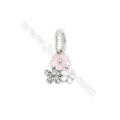 Sterling Silver Zircon European Beads, x 1 Piece, Tri-Flower, Size: 10x13mm