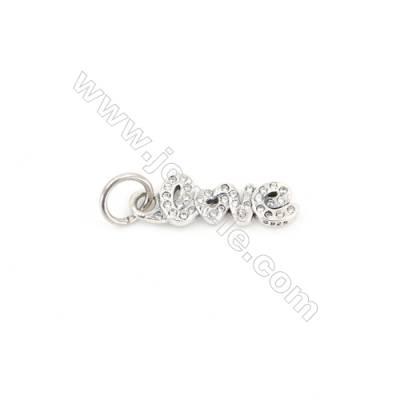Sterling Silver Zircon European Beads, x 1 Piece, LOVE, Size: 7x21mm