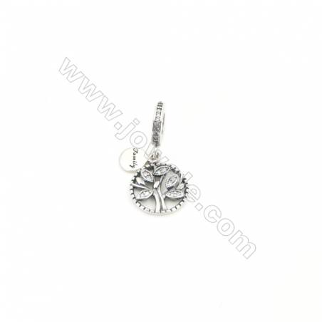 Sterling Silver Zircon European Beads, x 1 Piece, Tree of Life, Diameter: 13mm