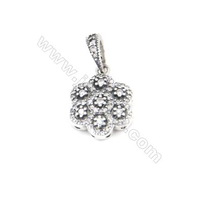 Sterling Silver Zircon European Beads, x 1 Piece, Flower, Size: 12x15mm