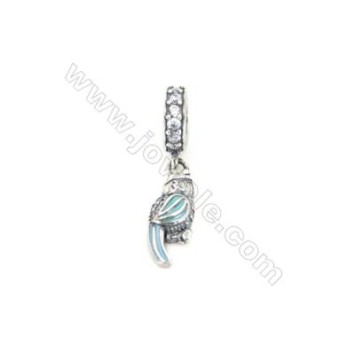 Sterling Silver Zircon European Beads, x 1 Piece, Parrot, Size: 6x15mm