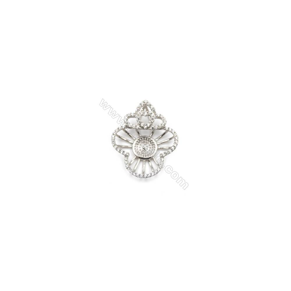 925 Sterling silver platinum plated zirconia pendant, 21x25mm, x 5 pcs, tray 8mm, needle 0.7mm
