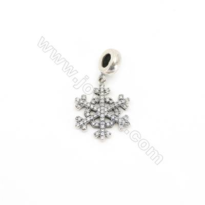 Sterling Silver Zircon European Beads, x 1 Piece, Snowflake, Size: 19x19mm