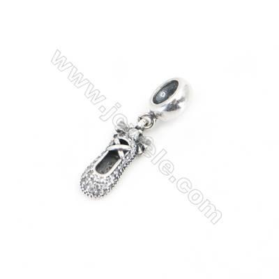Sterling Silver Zircon European Beads, x 1 Piece, Ballet Shoe, Size: 7x16mm