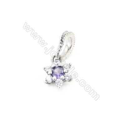 Sterling Silver Zircon European Beads, x 1 Piece, Flower, Size: 7x7mm