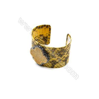Snakeskin Bracelet (Adjustable), with Gun Black Plated Brass Pave Cubic Zirconia, Clover, Size 41mm, Inside Diameter 60mm