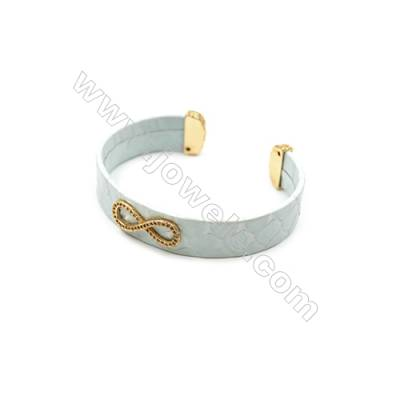 Snakeskin Bracelet (Adjustable), with Gold Plated Brass Pave Cubic Zirconia, Figure 8, Size 14x67mm, Inside Diameter 60mm